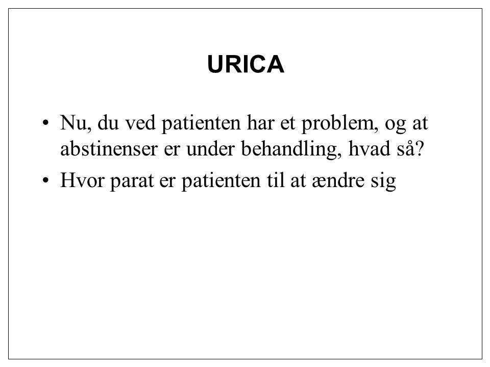URICA Nu, du ved patienten har et problem, og at abstinenser er under behandling, hvad så.