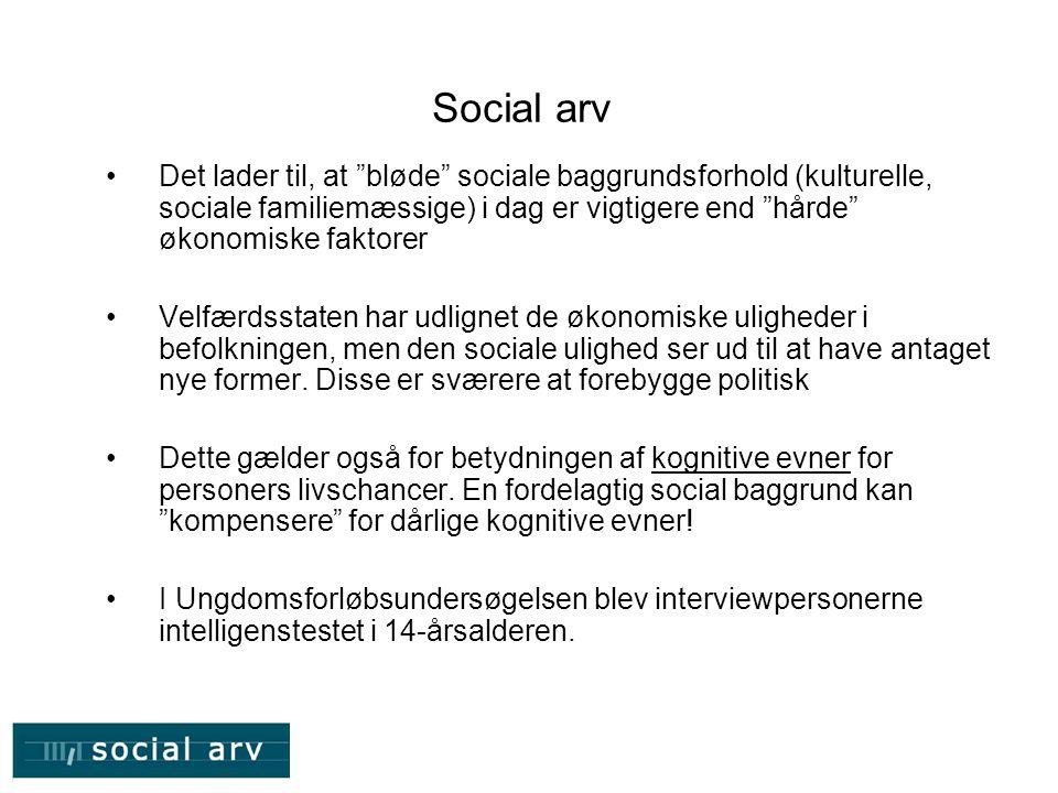 Social arv Det lader til, at bløde sociale baggrundsforhold (kulturelle, sociale familiemæssige) i dag er vigtigere end hårde økonomiske faktorer.