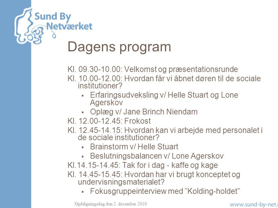 Dagens program Kl. 09.30-10.00: Velkomst og præsentationsrunde