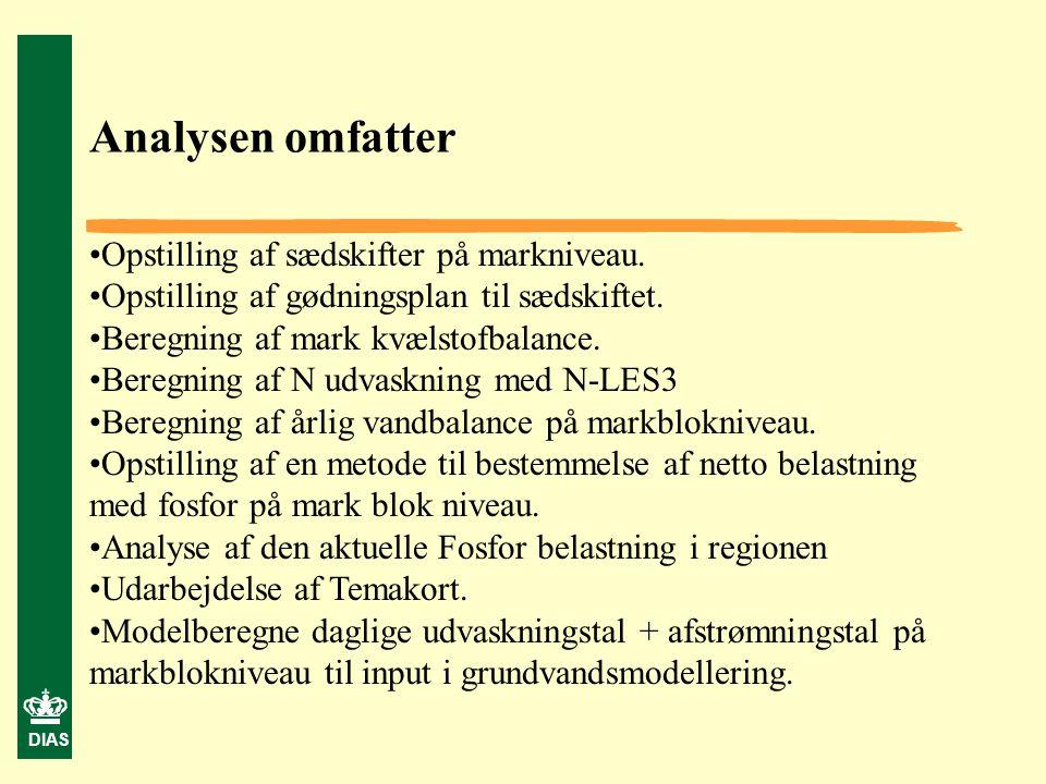 Analysen omfatter Opstilling af sædskifter på markniveau.