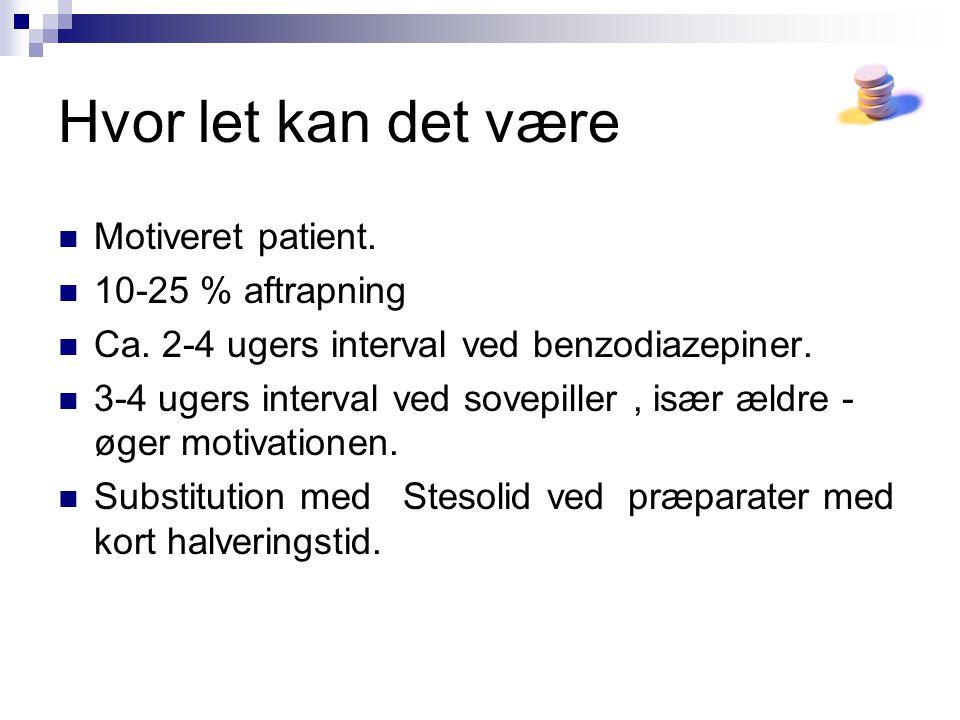 Hvor let kan det være Motiveret patient. 10-25 % aftrapning