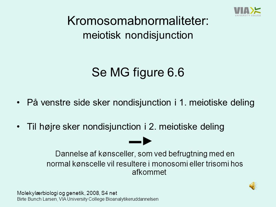 Kromosomabnormaliteter: meiotisk nondisjunction