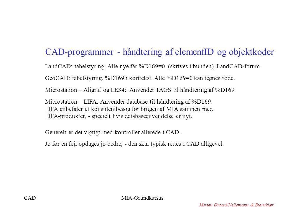 CAD-programmer - håndtering af elementID og objektkoder