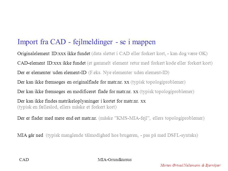 Import fra CAD - fejlmeldinger - se i mappen