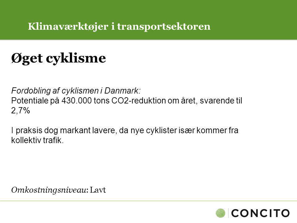 Øget cyklisme Klimaværktøjer i transportsektoren