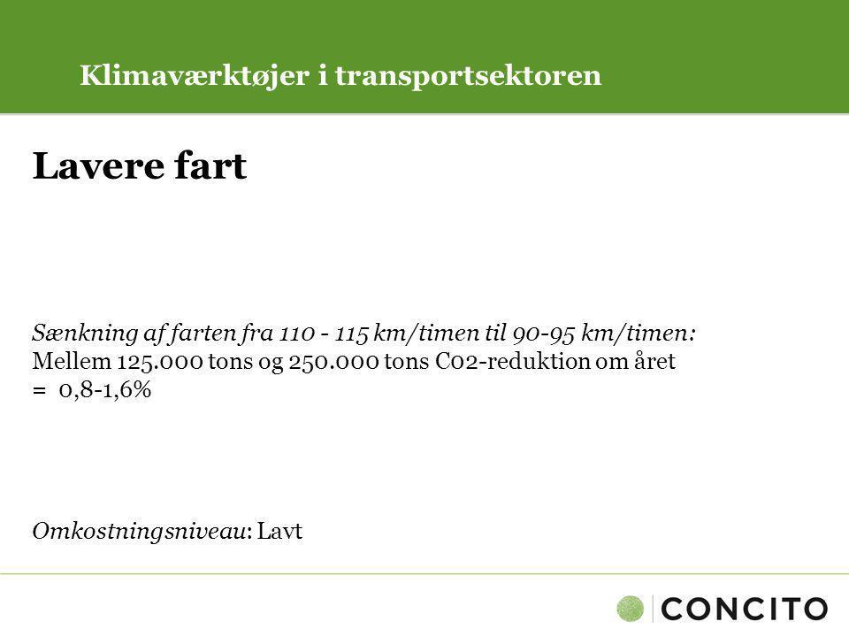 Lavere fart Klimaværktøjer i transportsektoren