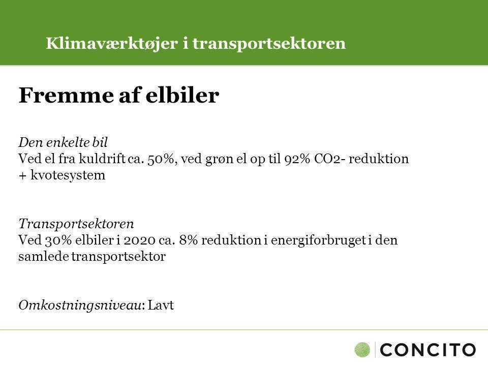 Fremme af elbiler Klimaværktøjer i transportsektoren Den enkelte bil