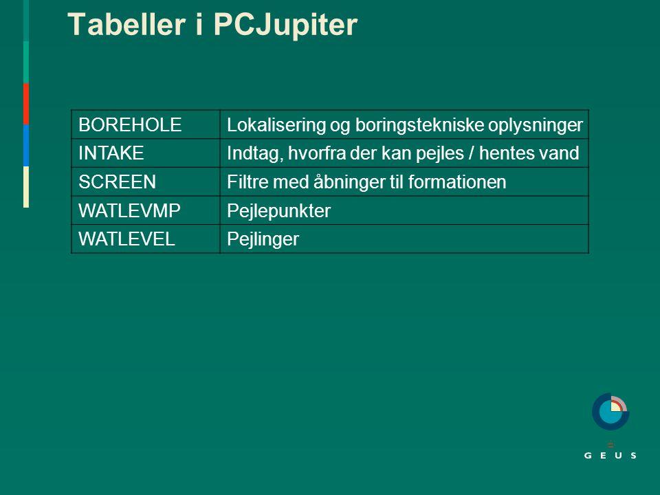 Tabeller i PCJupiter BOREHOLE