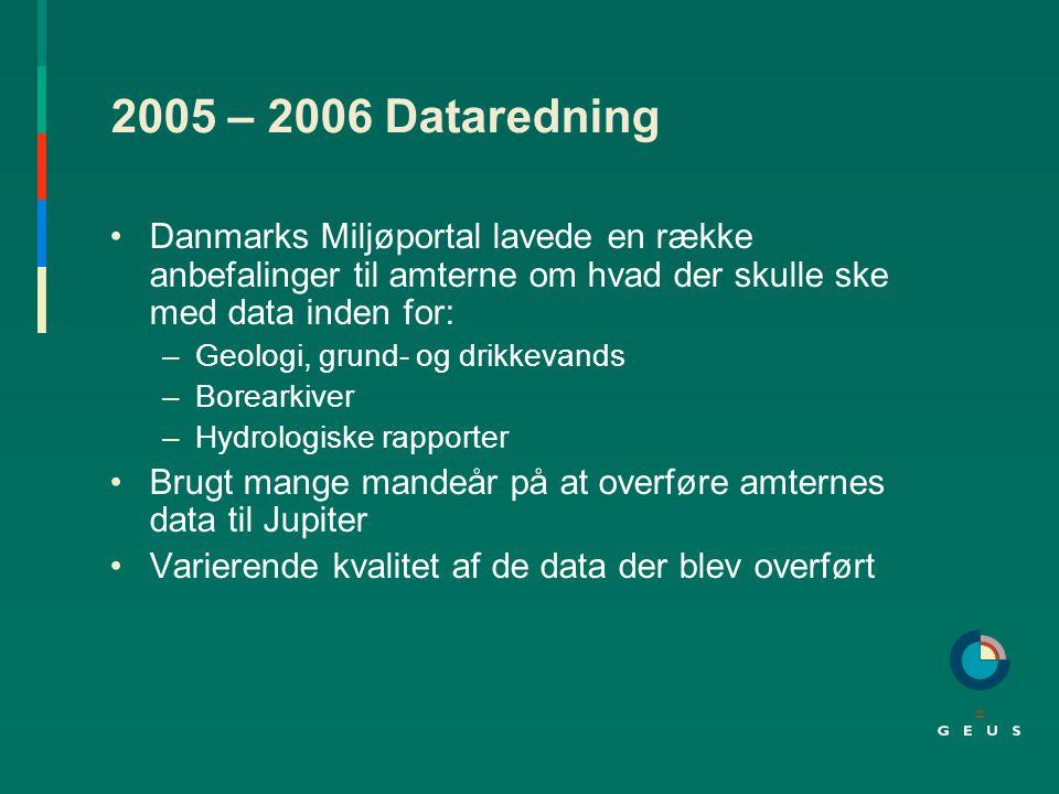 2005 – 2006 Dataredning Danmarks Miljøportal lavede en række anbefalinger til amterne om hvad der skulle ske med data inden for: