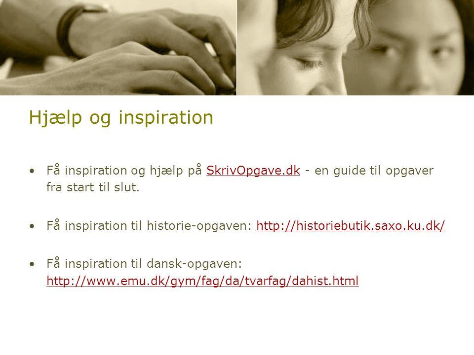 Hjælp og inspiration Få inspiration og hjælp på SkrivOpgave.dk - en guide til opgaver fra start til slut.