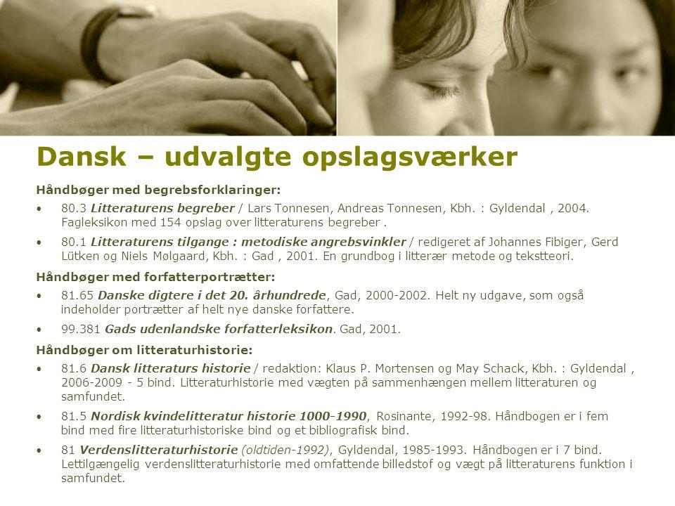 Dansk – udvalgte opslagsværker