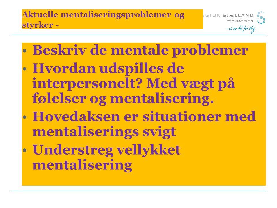Aktuelle mentaliseringsproblemer og styrker -