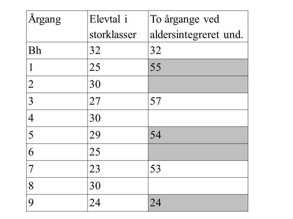 Årgang Elevtal i storklasser. To årgange ved aldersintegreret und. Bh. 32. 1. 25. 55. 2. 30.