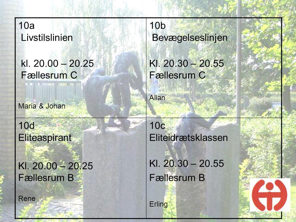 10a Livstilslinien kl. 20.00 – 20.25 Fællesrum C 10b Bevægelseslinjen