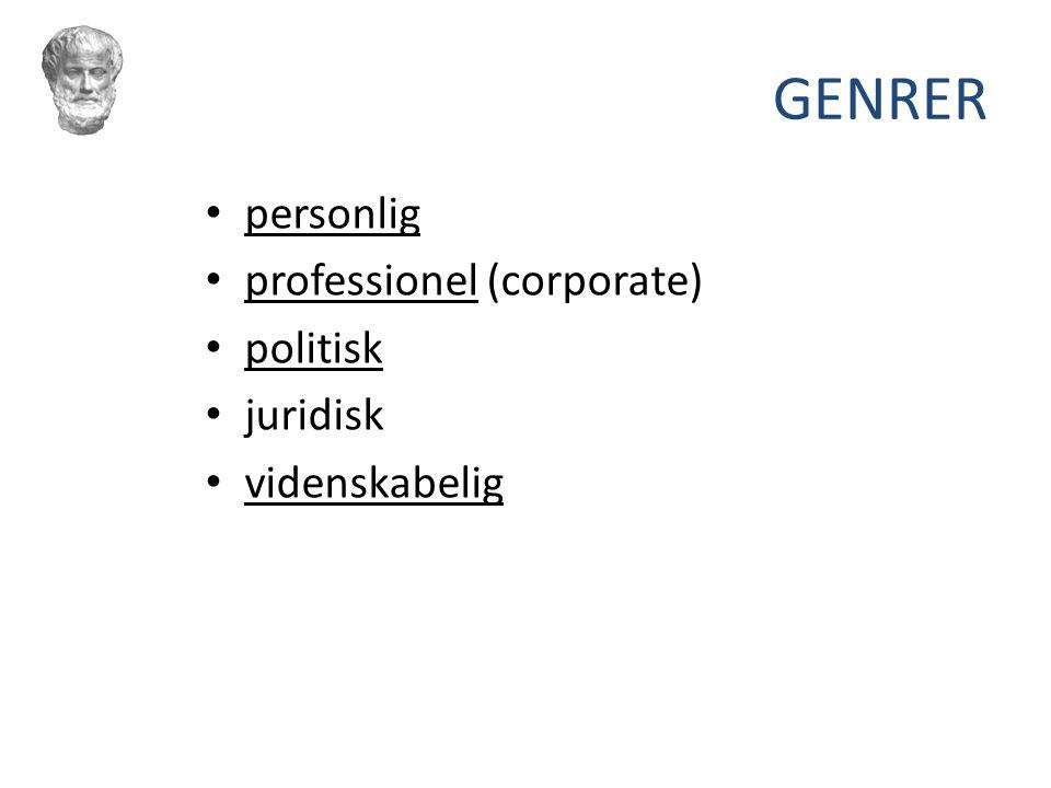 GENRER personlig professionel (corporate) politisk juridisk