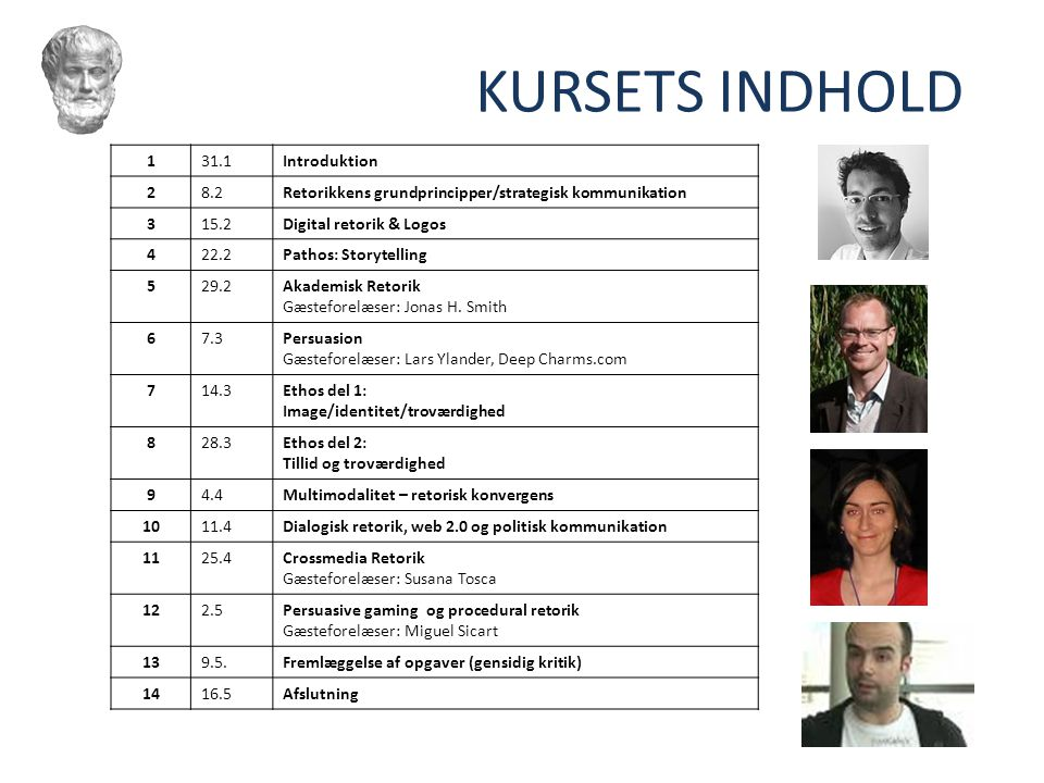 KURSETS INDHOLD 1 31.1 Introduktion 2 8.2