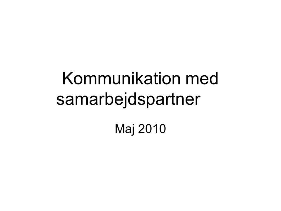 Kommunikation med samarbejdspartner