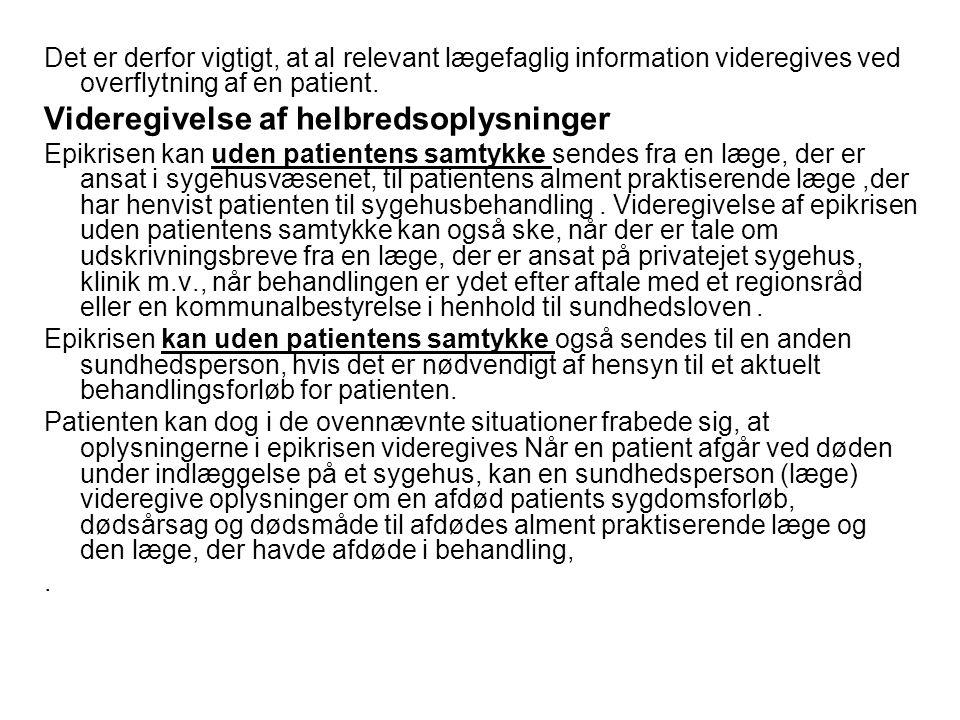 Videregivelse af helbredsoplysninger
