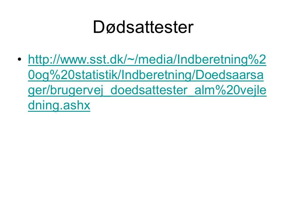 Dødsattester http://www.sst.dk/~/media/Indberetning%20og%20statistik/Indberetning/Doedsaarsager/brugervej_doedsattester_alm%20vejledning.ashx.