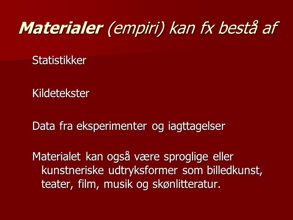 Materialer (empiri) kan fx bestå af