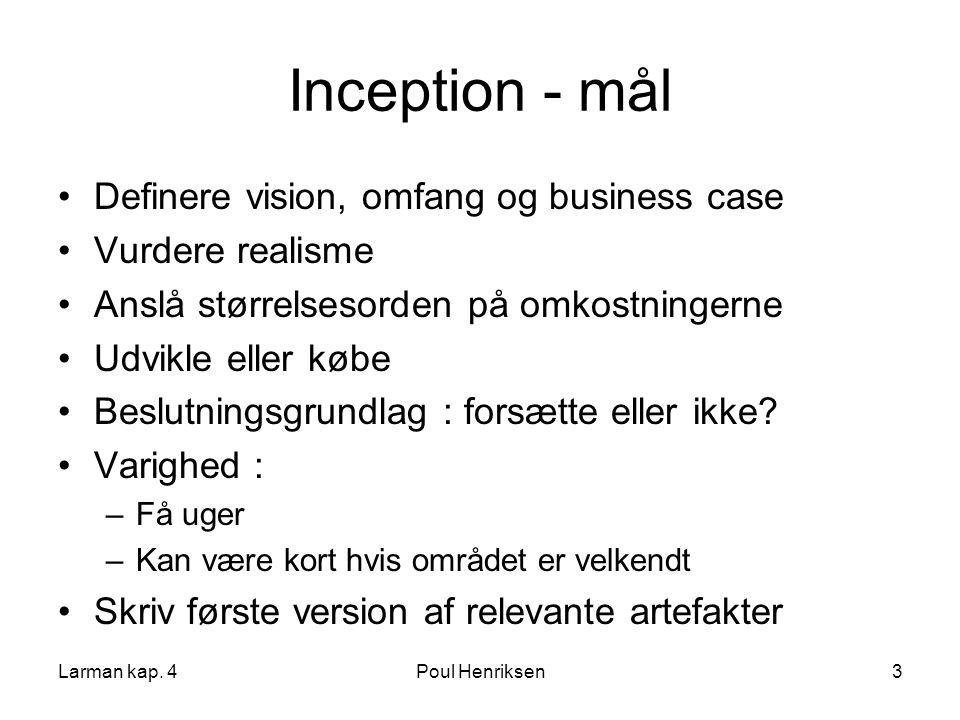 Inception - mål Definere vision, omfang og business case