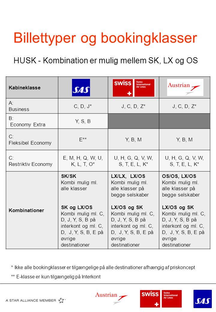 Billettyper og bookingklasser HUSK - Kombination er mulig mellem SK, LX og OS