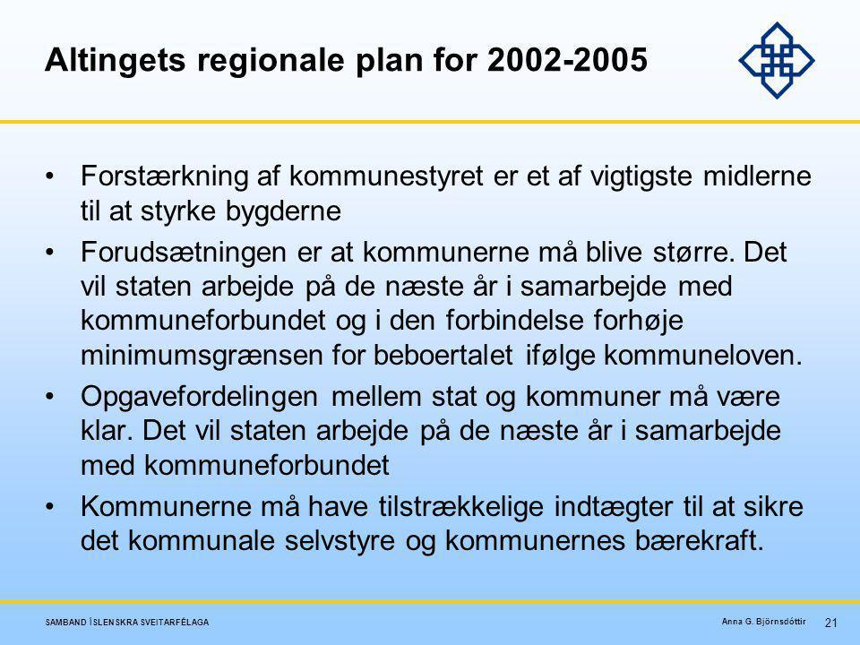 Altingets regionale plan for 2002-2005