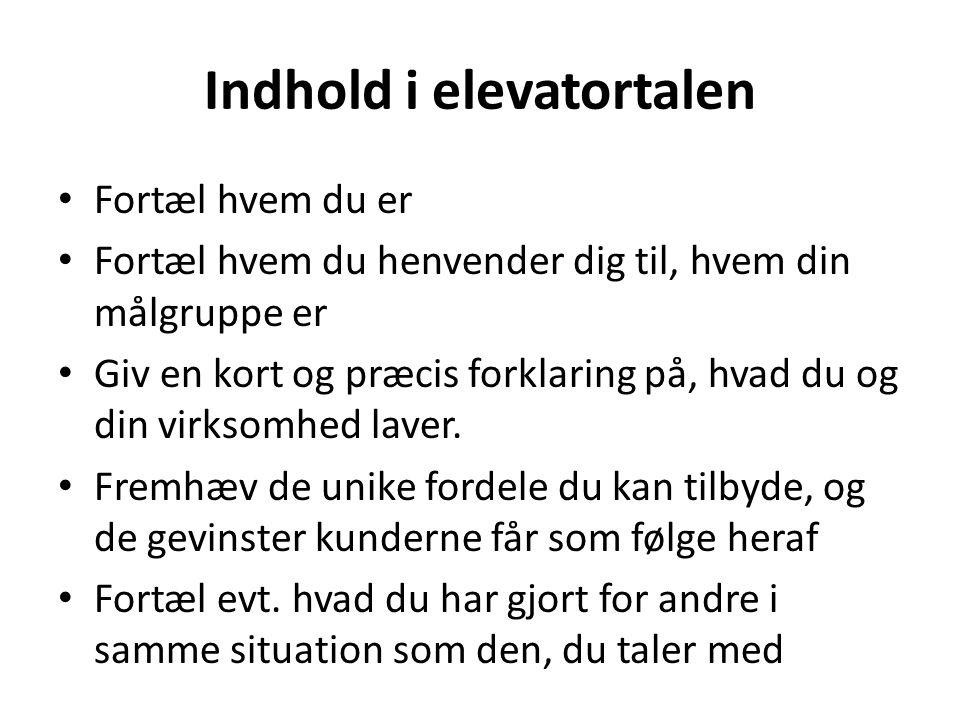 Indhold i elevatortalen