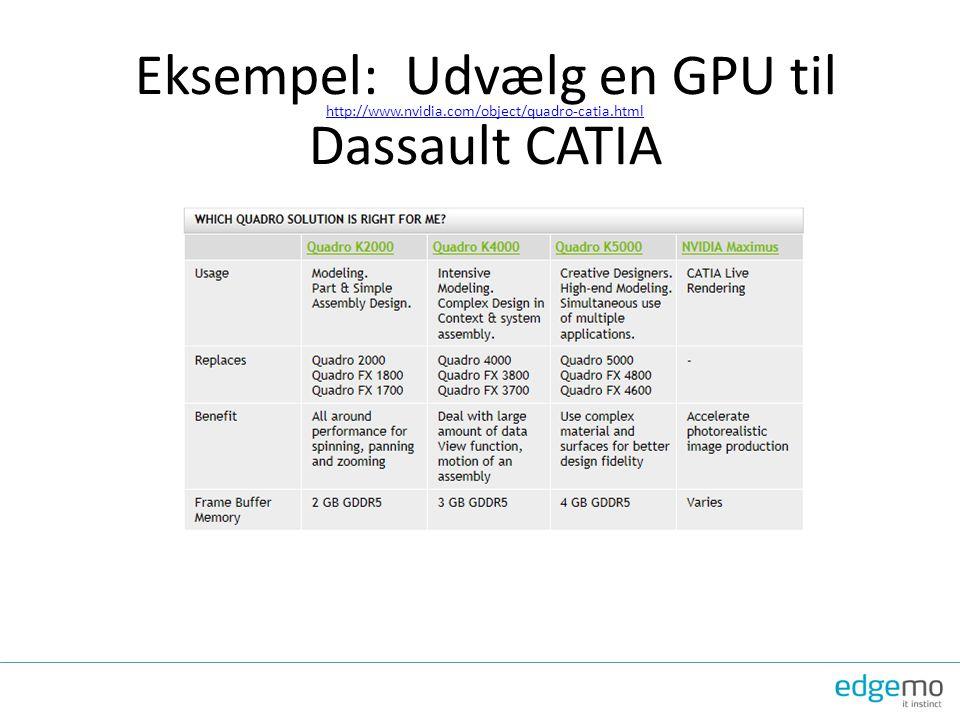 Eksempel: Udvælg en GPU til Dassault CATIA