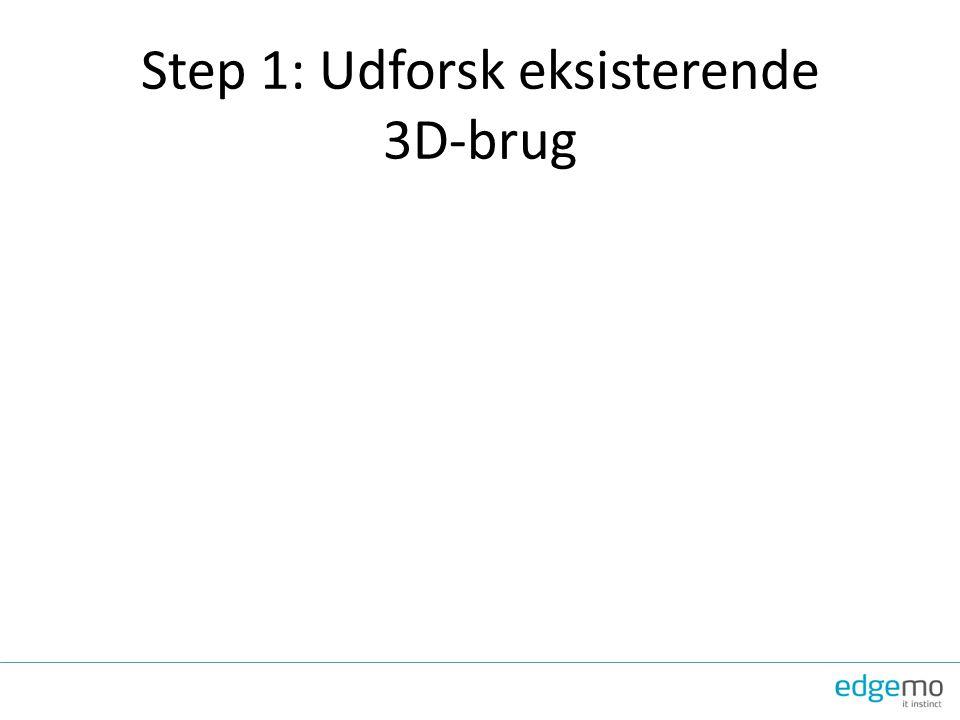 Step 1: Udforsk eksisterende 3D-brug