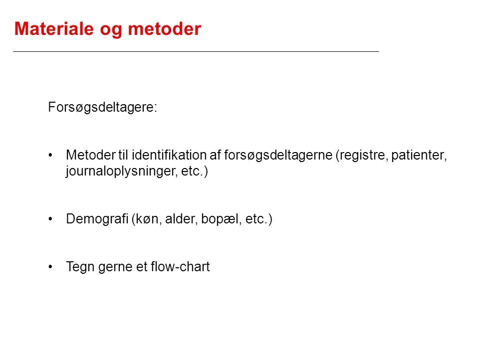 Materiale og metoder Forsøgsdeltagere: