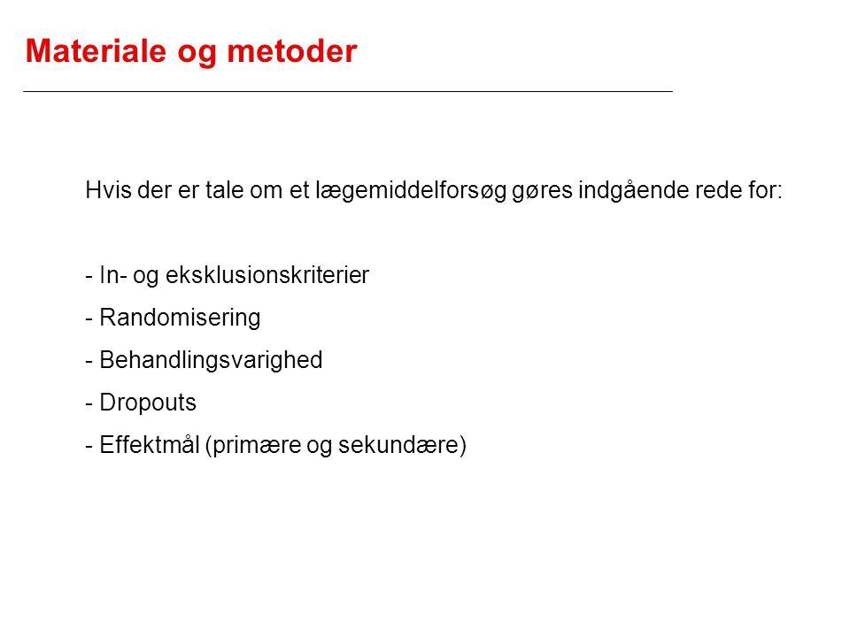 Materiale og metoder Hvis der er tale om et lægemiddelforsøg gøres indgående rede for: - In- og eksklusionskriterier.