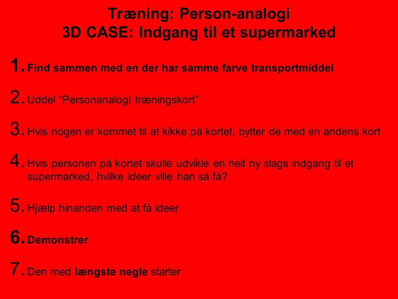 Træning: Person-analogi 3D CASE: Indgang til et supermarked