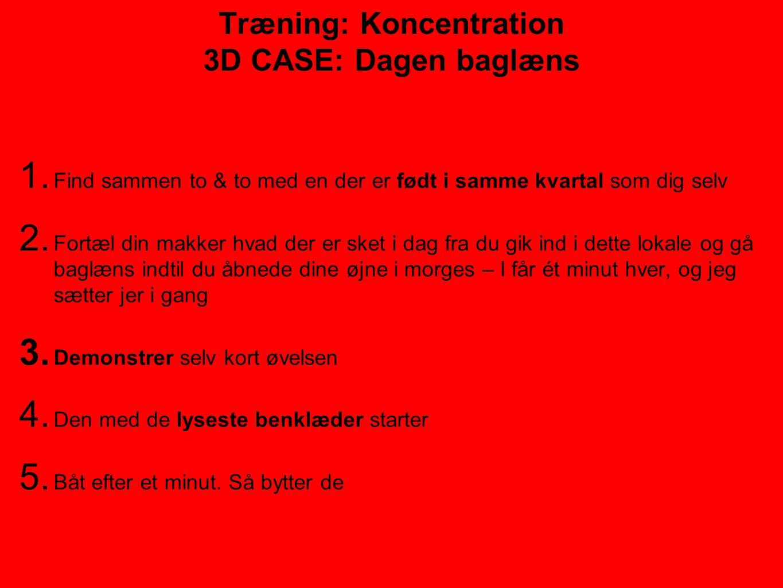Træning: Koncentration 3D CASE: Dagen baglæns
