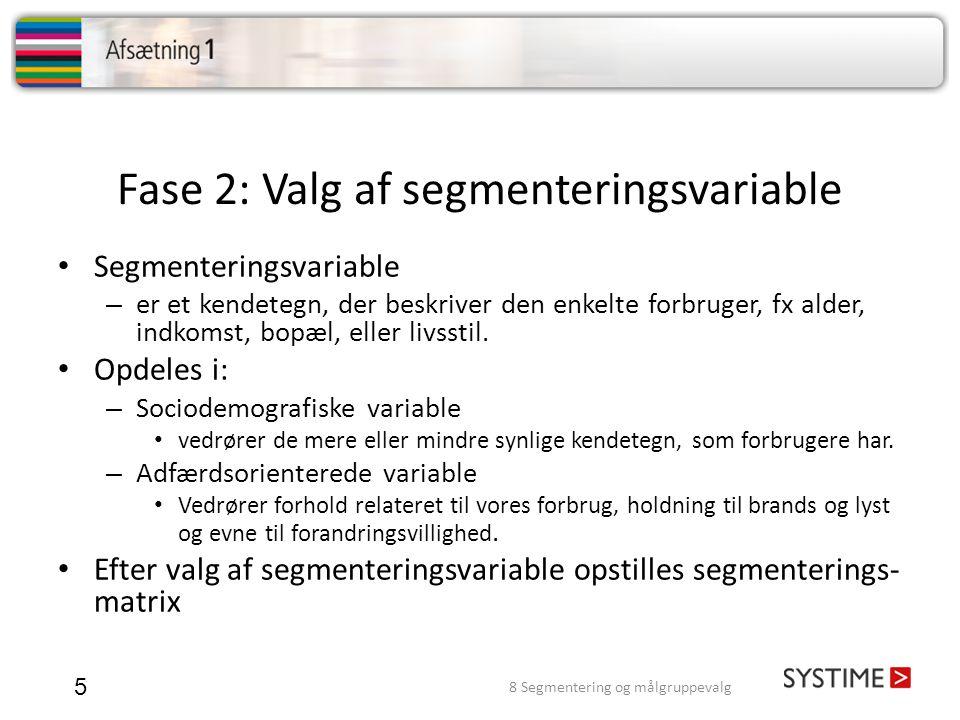 Fase 2: Valg af segmenteringsvariable