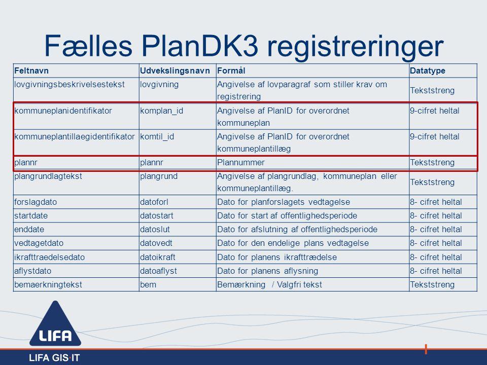 Fælles PlanDK3 registreringer