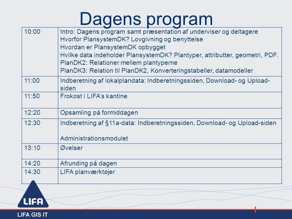 Dagens program 10:00. Intro: Dagens program samt præsentation af underviser og deltagere. Hvorfor PlansystemDK Lovgivning og benyttelse.