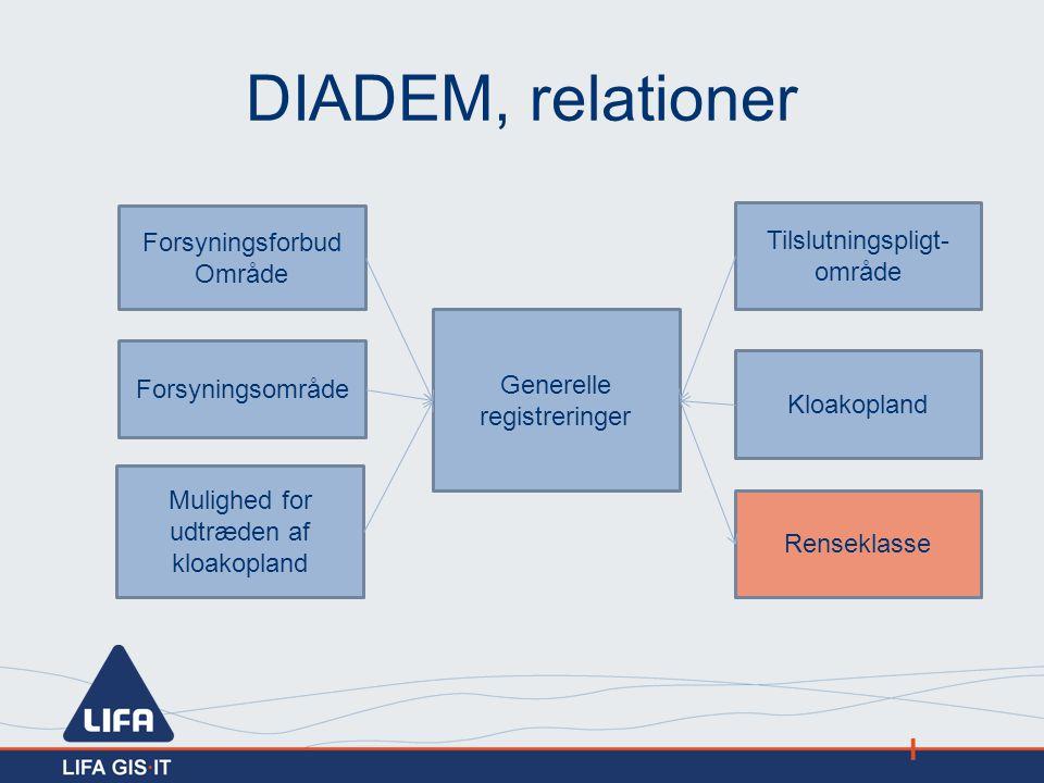 DIADEM, relationer Forsyningsforbud Område Tilslutningspligt-område
