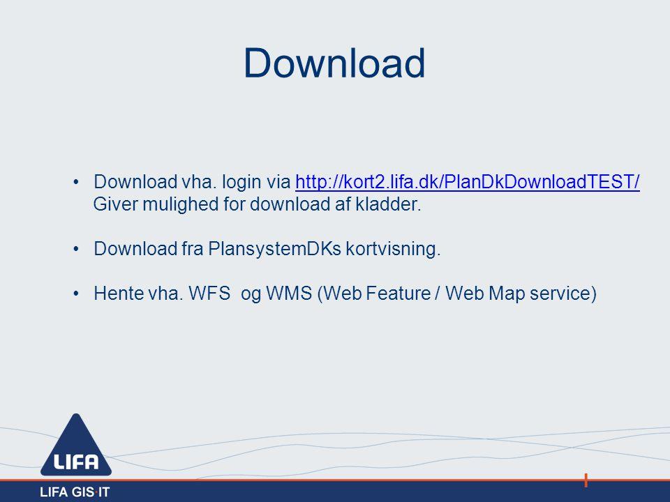 Download Download vha. login via http://kort2.lifa.dk/PlanDkDownloadTEST/ Giver mulighed for download af kladder.