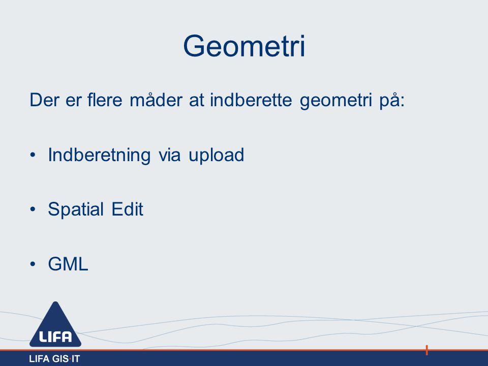 Geometri Der er flere måder at indberette geometri på: