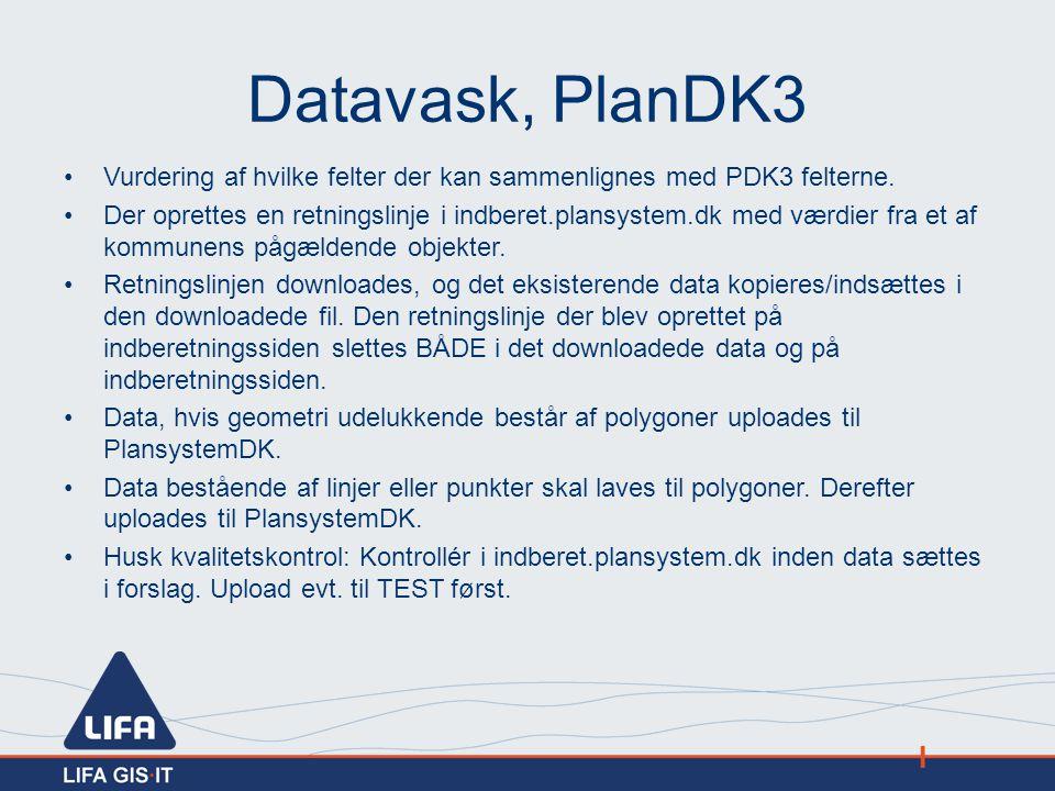Datavask, PlanDK3 Vurdering af hvilke felter der kan sammenlignes med PDK3 felterne.