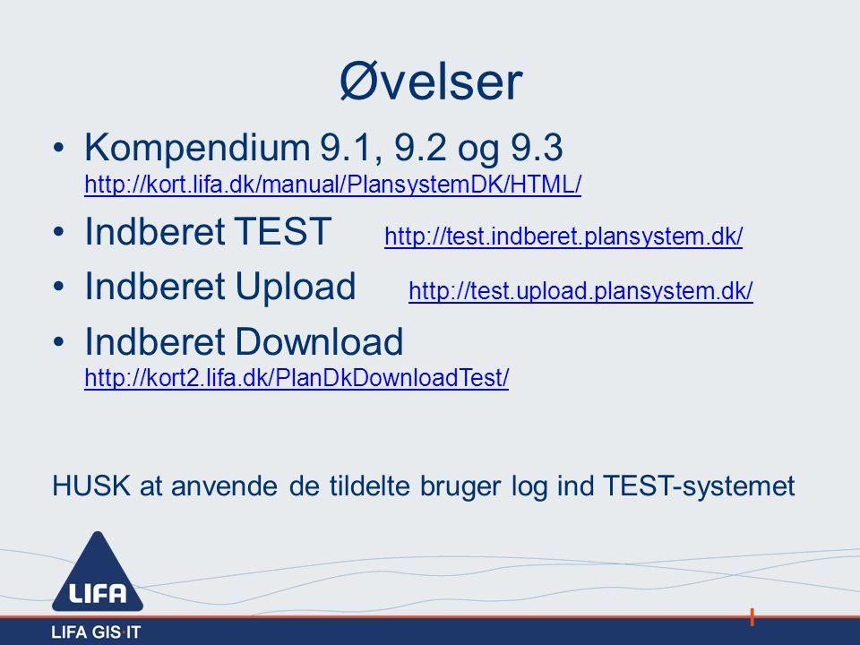 Øvelser Kompendium 9.1, 9.2 og 9.3 http://kort.lifa.dk/manual/PlansystemDK/HTML/ Indberet TEST http://test.indberet.plansystem.dk/