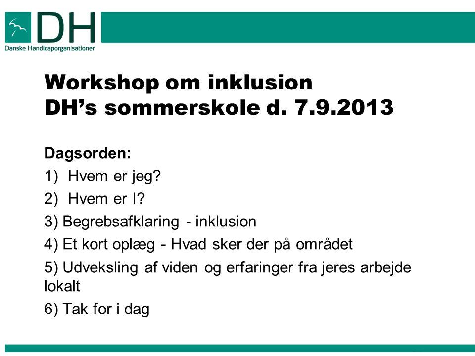 Workshop om inklusion DH's sommerskole d. 7.9.2013