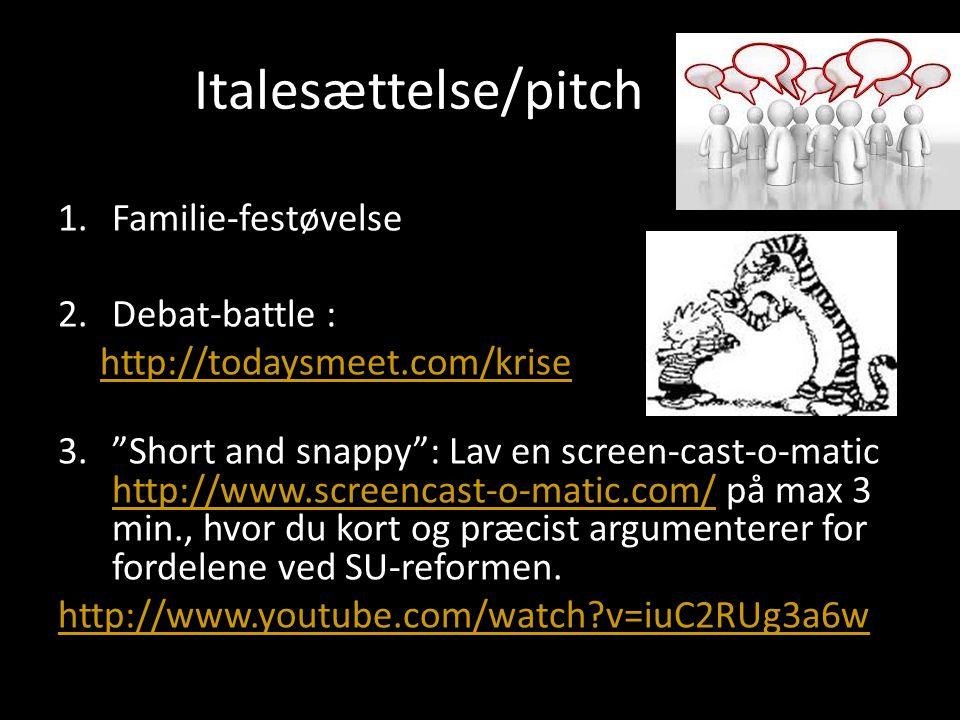 Italesættelse/pitch Familie-festøvelse Debat-battle :