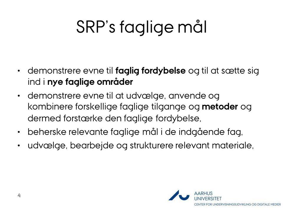 SRP's faglige mål demonstrere evne til faglig fordybelse og til at sætte sig ind i nye faglige områder.