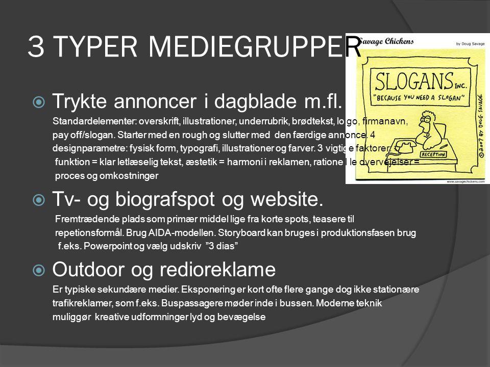 3 TYPER MEDIEGRUPPER Trykte annoncer i dagblade m.fl.