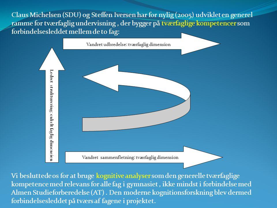 Claus Michelsen (SDU) og Steffen Iversen har for nylig (2005) udviklet en generel ramme for tværfaglig undervisning , der bygger på tværfaglige kompetencer som forbindelsesleddet mellem de to fag: