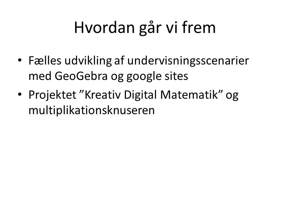 Hvordan går vi frem Fælles udvikling af undervisningsscenarier med GeoGebra og google sites.