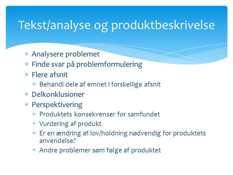 Tekst/analyse og produktbeskrivelse