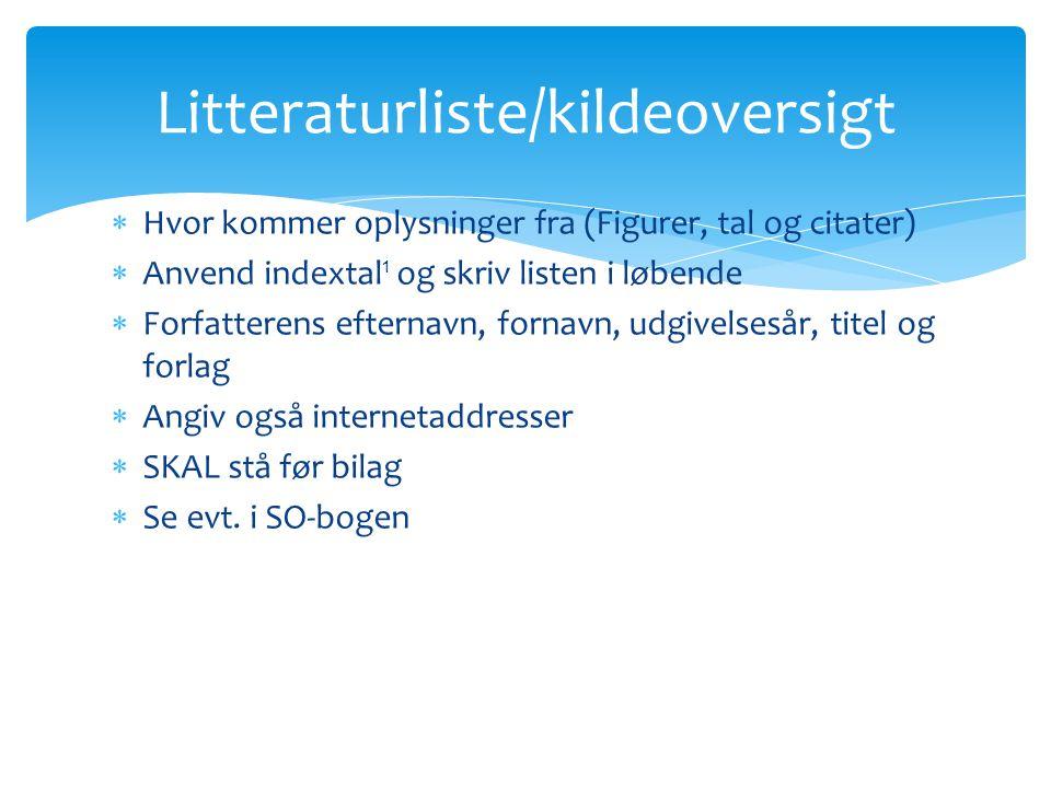 Litteraturliste/kildeoversigt